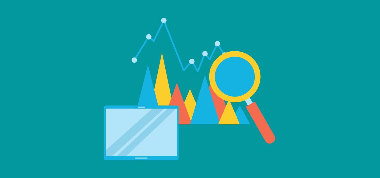Forstørrelsesglass og diagrammer