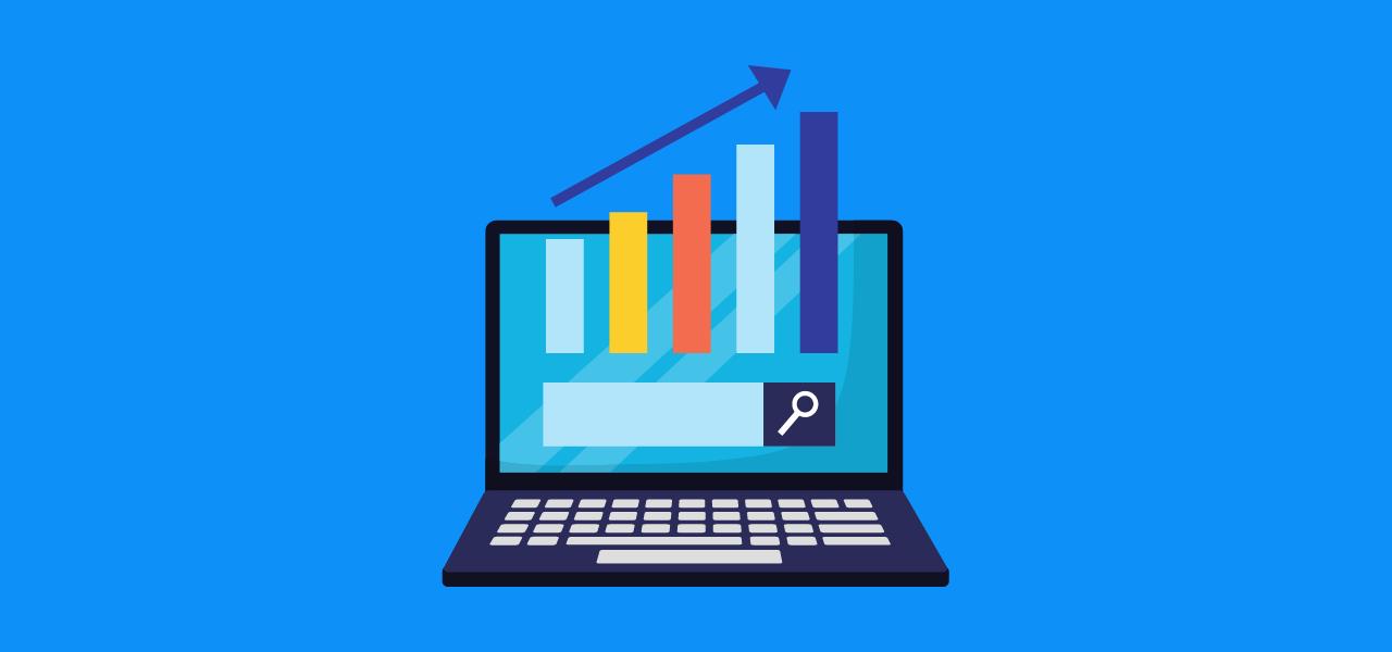 Datamaskin med statistikk stolper